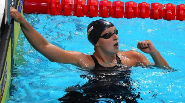 Katie Ledecky of the United States celebrates after winning the gold medal. (Photo by Al Bello/Getty Images)