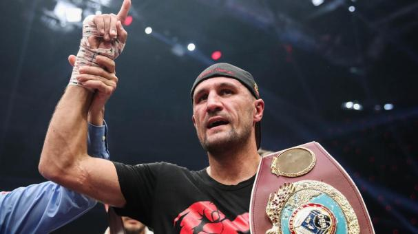Russian boxer Sergey Kovalev celebrates victory in his WBO light heavyweight title bout against British boxer Anthony Yarde during a boxing show at Traktor Ice Arena. Valery Sharifulin/TASS (Photo by Valery Sharifulin\TASS via Getty Images)