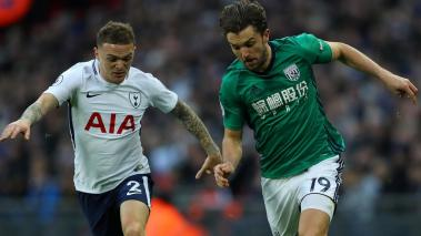 Kieran Trippier of Tottenham Hotspur puts pressure on Jay Rodriguez of West Bromwich Albion during the Premier League match at Wembley Stadium on November 25, 2017 in London, England. (Getty Images)