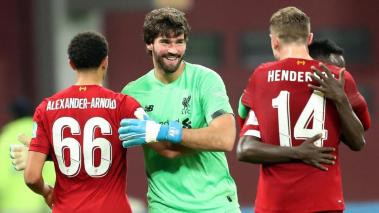 Alisson, Player of Liverpool FC celebrate after winning the FIFA Club World Cup semi final soccer match between CF Monterrey and Liverpool FC in Doha, Qatar, 18 December 2019. (Mundial de Fútbol, Catar) EFE/EPA/ALI HAIDER