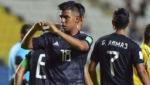 EFRAIN ALVAREZ celebra su gol de Mexico durante el partido Mexico vs islas Salomon, Correspondiente al grupo F de la Copa Mundial de la FIFA Sub-17, en el Estadio Kleber Andrada, el 03 de Noviembre de 2019. Mexsport